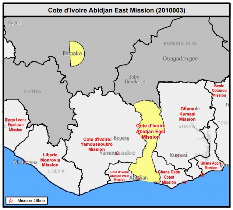 Map Cote d'Ivoire Abidjan East Mission